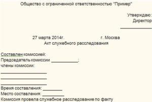 Акт служебного расследования