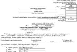Акт инвентаризации наличных денежных средств. Форма № 12-инв