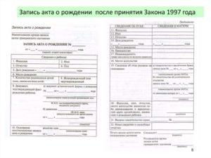 Справка, содержащая сведения из записи акта о рождении