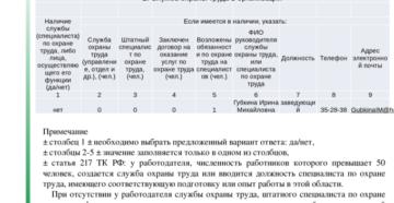 Справка об основных показателях состояния охраны труда в организации