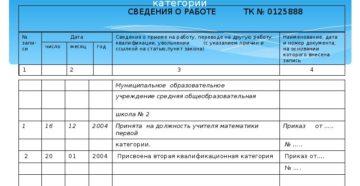 Запись в трудовую книжку о присвоении квалификационного класса водителю автомобиля (Образец заполнения)