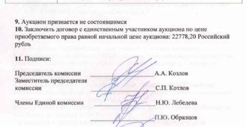 Протокол заседания комиссии, созданной по вопросу подведения итогов электронного аукциона