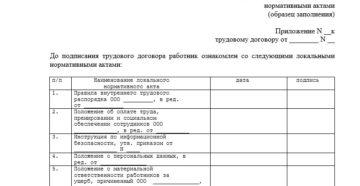 Лист ознакомления кассира - приложение к трудовому договору (Образец заполнения)