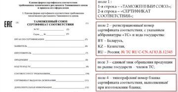 Единая форма сертификата соответствия требованиям технического регламента Таможенного союза