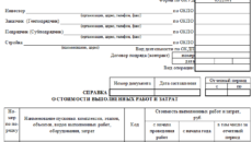 Справка о стоимости выполненных работ и затратах (Форма С-3)