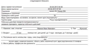 Медицинская карта стационарного больного. Форма № 003/у-07