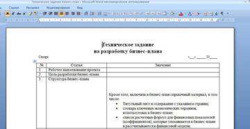 Техническое задание на оказание услуг по разработке бизнес-плана инвестиционного проекта
