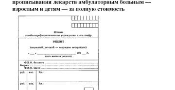 Рецепт врача для выписки лекарственных средств, реализуемых в аптеке за полную стоимость (Форма 1)